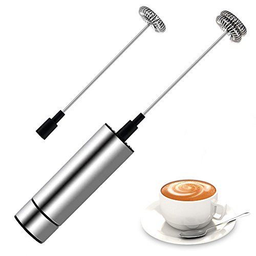 Portable Handheld Electric Milk Frother with 2 Pieces Powerful Spring Whisk Head, Premium Stainless Steel Milk Foam Maker for Coffee, Latte, Cappuccino, Hot Chocolate