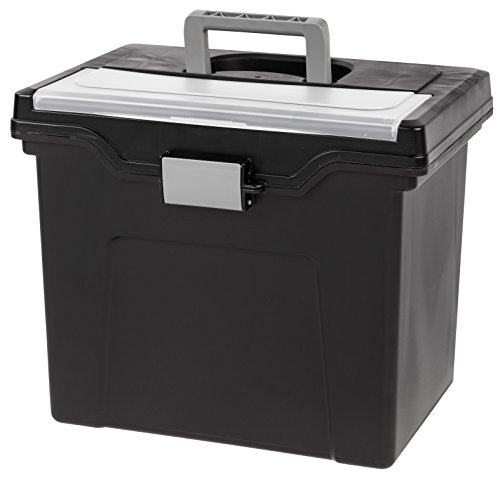 - IRIS Letter Size Portable File Box with Organizer Lid, Black