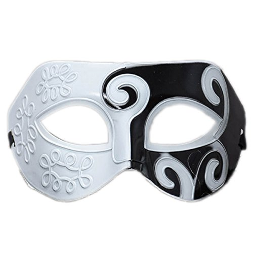 Rehot Mens Masquerade Mask Vintage Half Face Party Mask Mardi Gras Christmas Halloween Mask (White+Black (Two And A Half Men Halloween)