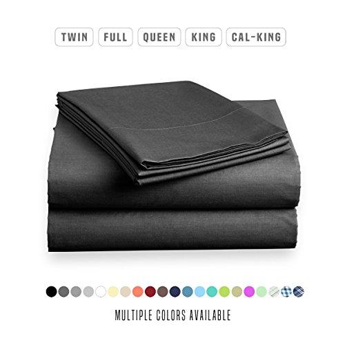 Luxe Bedding Sets - Microfiber King Size Sheets Set 4 Piece, Pillow Cases, Deep Pocket Fitted Sheet, Flat Sheet Set King - Black