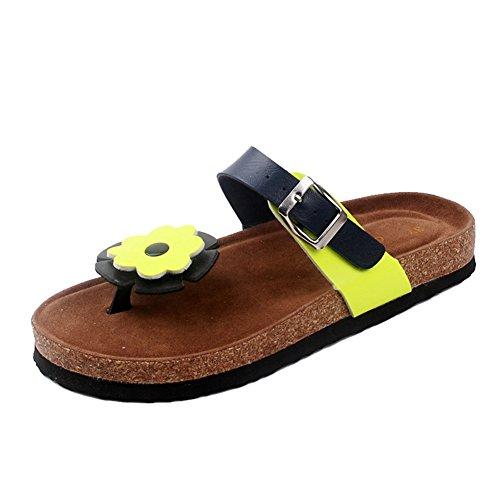 Mujer sandalias planas de la playa Zapatos Peep-dedo del pie Flip Flop Chanclas Chancletas 2