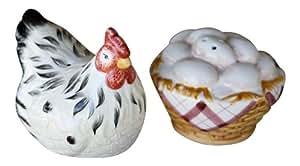 Chicken Hen & Egg Basket Salt & Pepper Shakers S/P