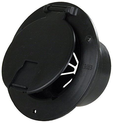 JR Products 541-3-A Black Deluxe Round Electric Cable Hatch with - Cover Heater Housing
