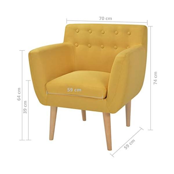 vidaXL Fauteuil pour Salon Chambre Bureau Tissu Jaune Sofa Chaise Maison