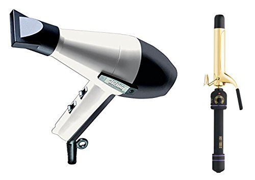 "Elchim 2001 Hair Dryer Black/White with Free Hot Tools 1-1/4"" Curling Iron Model 1110"