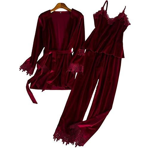Servicio Burgundy Señoras Bedgown Encaje Traje Sexy Moda Terciopelo Leeqn Pijamas Caliente Invierno Casa Otoño 7xq0wEOv