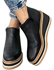Women's Wedge Ankle Boots, Solid Color Round Toe Hedging Footwear, Casual Wedge Booties Shoes