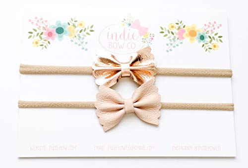 (Indie Bow Co Handmade Premium Genuine Leather Scallop Bow Headbands Set of 2 Size 1.5