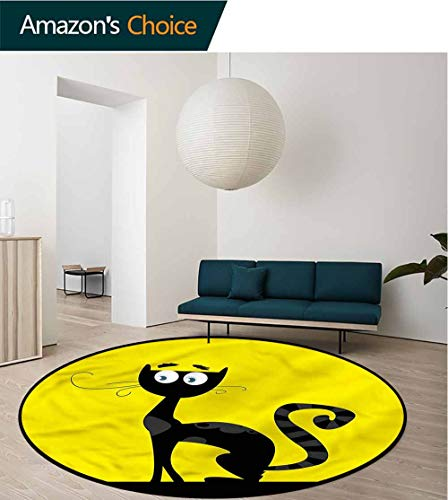 RUGSMAT Cat Modern Vintage Rugs,Cartoon Style Drawing Halloween Coffee Table Mat Non-Skid Living Room Carpet Round-63]()