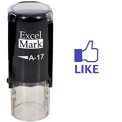 Thumbs Up Like - ExcelMark Self-Inking Round Rubber Teacher Stamp - Blue Ink ()