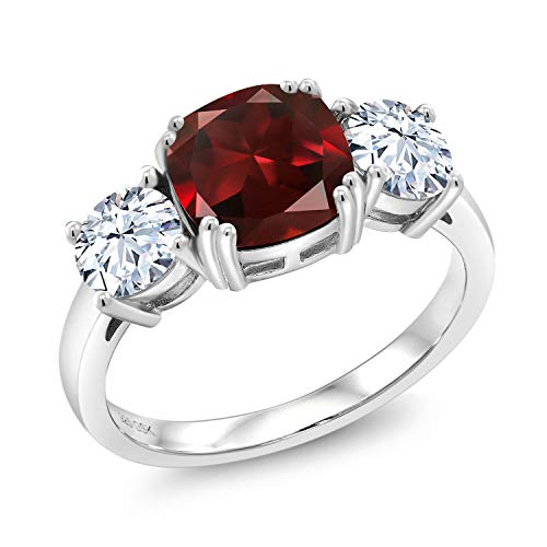 Gem Stone King Sterling Silver Red Garnet Women's Meghan Ring 4.24 cttw Cushion Cut Available in size 5, 6, 7, 8, 9