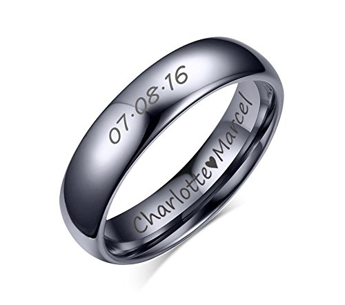 Custom Personalized Tungsten Carbide Domed Wedding Anniversary Matching Couple Ring Set for Him,Size 11