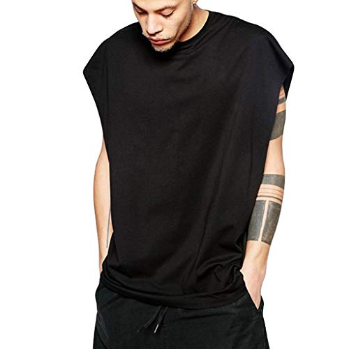 Pink Camouflage Cap Sleeve T-shirt - Men's Performance Muscle T-Shirt Casual Heavyweight Activewear Workout Tank Tops Cap Sleeve Fitness Baggy Shirts Black