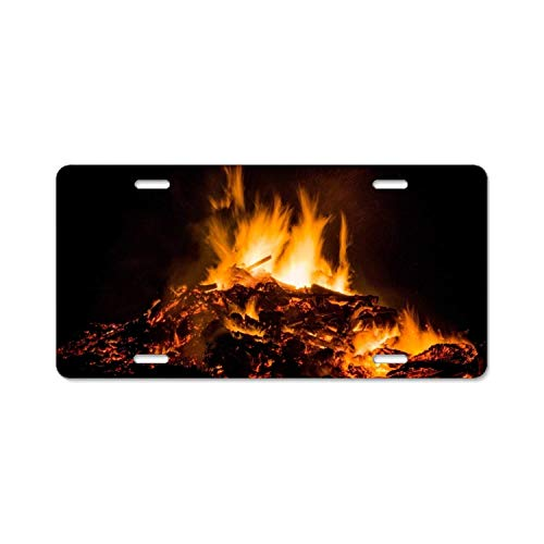 - YEX The Bonfire License Plate with 4 Holes Novelty Car Licence Plate Covers Tag Sign 12