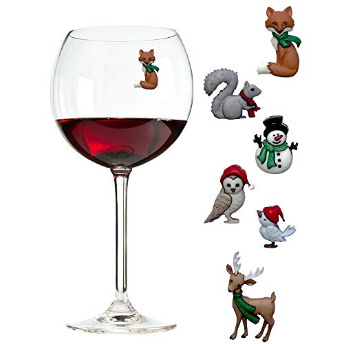 Magnetic Wine Charms That Will Delight Your Guests all Winter - Use at Christmas and Beyond - Set of 6 Drink Markers by Simply Charmed