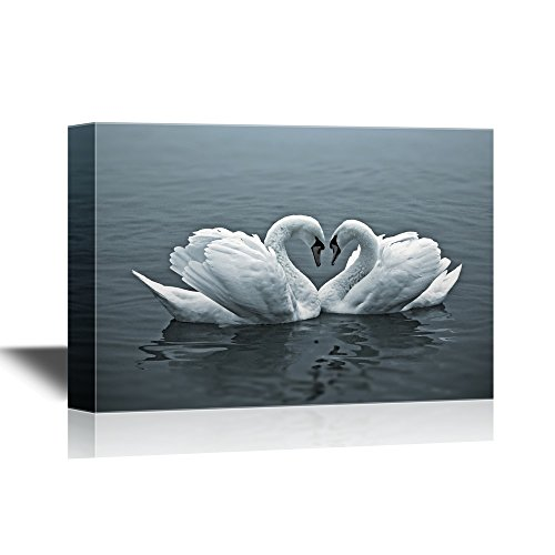 wall26 Romantic Canvas Wall Art - Swans Forming a Heart Shape with Their Necks - Gallery Wrap Modern Home Decor | Ready to Hang - 24x36 inches