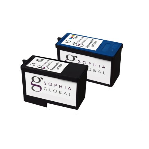 Sophia Global Remanufactured Ink Cartridge Replacement for Lexmark 14 and Lexmark 15 (1 Black, 1 Color)