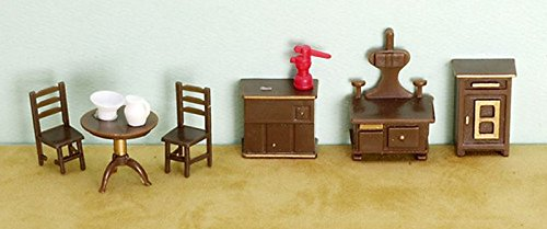 Dollhouse Miniature 1/4 inch Scale Kitchen Furniture Set