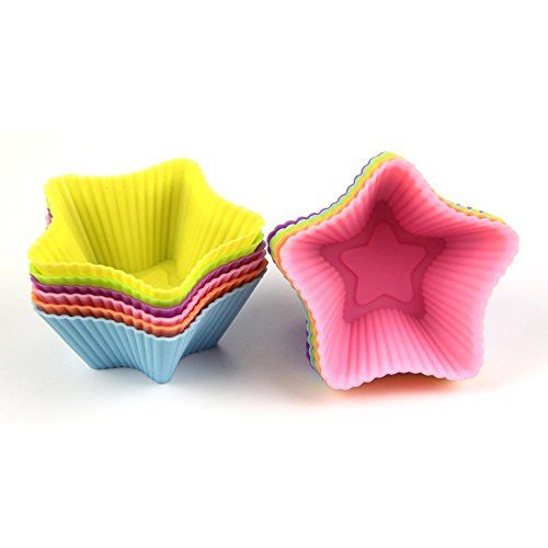 Muffin Cases, Ephvan 12Pcs Silicone Baking Cases Cups for Muffins Brownies Cupcakes Cakes Ice Creams Puddings, Random colors (Star)