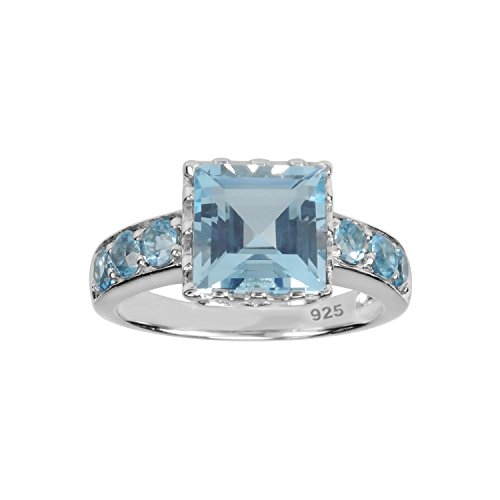 AURA BY TJM 925 SS RING SET WITH 2.58 CT, FACET CUT, SQUARE TOP SKY BLUE TOPAZ & 0.66 CT RD SWISS BLUE TOPAZ