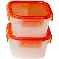Snapware 1.3 Cup Square Airtight Plastic Food Storage Container, Pack of 2 Containers, Red Lid