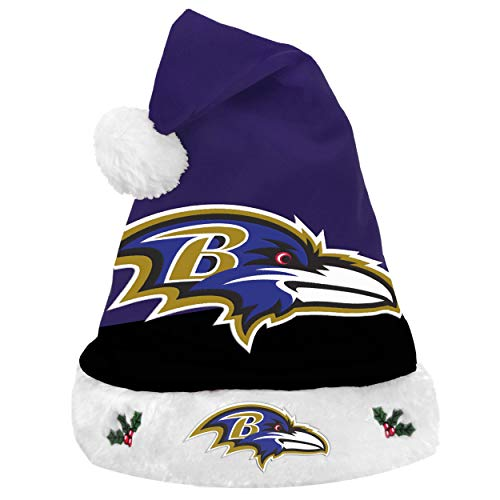 FOCO NFL Baltimore Ravens 2018 Basic Santa Hat, Team Color, One -