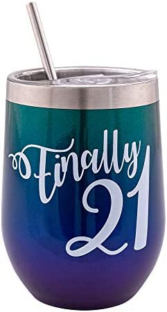 Verre Esprit Finally 21 Tumbler 12 Oz - 21st Birthday Gifts For Her And Him - 21 Birthday Shot Glass, 21 Wine Glass And 21 Drinking Cup - Stainless Steel Drinking Cup - Comes In Stunning Gift Box