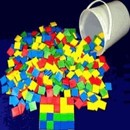 Bucket of Color Tiles (Set of 600 in 6 colors), Case of 3