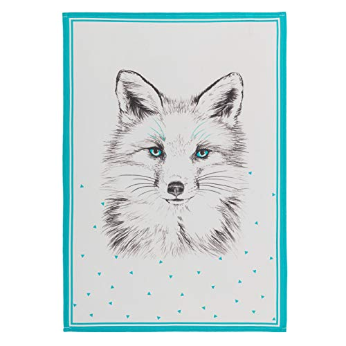 - COUCKE French Cotton Jacquard Towel, Renard (Fox) Print, 20-Inches by 30-Inches, White and Turquoise
