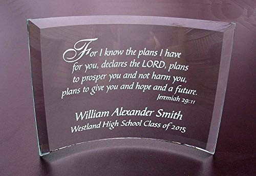 Personalized Etched Glass Achievement or Graduation Plaque, Jeremiah 29 11 Beveled Glass Crescent ()