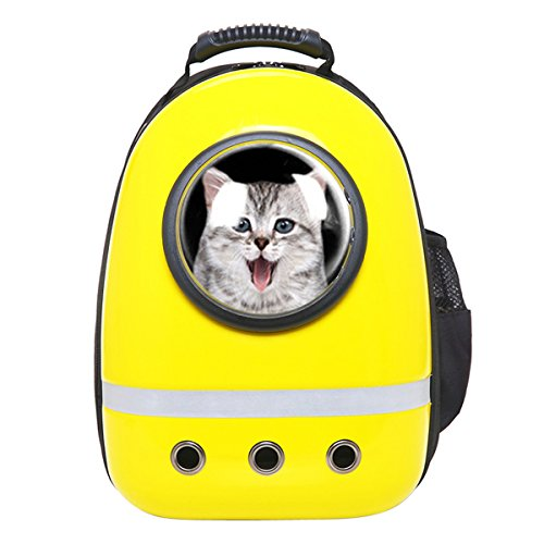 Zuoao Cat Dog Bubble Carrier Bag Astronaut Pet Backpack Airline Approved for Travel Hiking (Yellow)