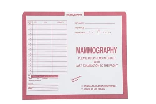 Film Mammography - Category Insert X-Ray Film Jacket - Mammography, Open Top, Pink Copy, 10-1/2