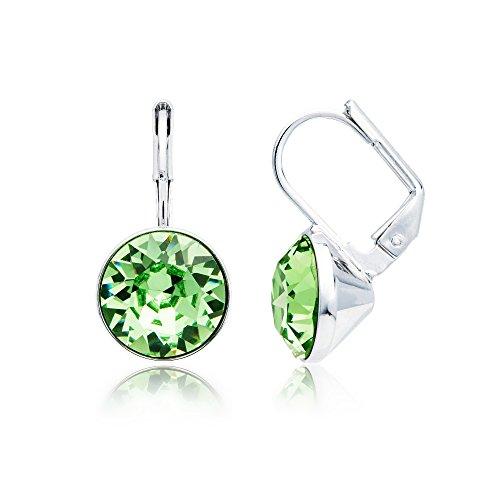 MYJS Bella Rhodium Plated Mini Drop Earrings with Peridot Green Swarovski Crystals