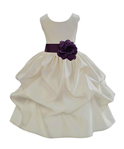 Wedding Pageant Ivory Pick-up Satin Flower Girl Dress Bridesmaid 208t 4 (Christmas Pageant Dresses)