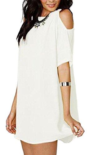 Jaycargogo Femmes Couleur Unie Épaule Froid Robe À Manches Courtes Décontracté Blanc