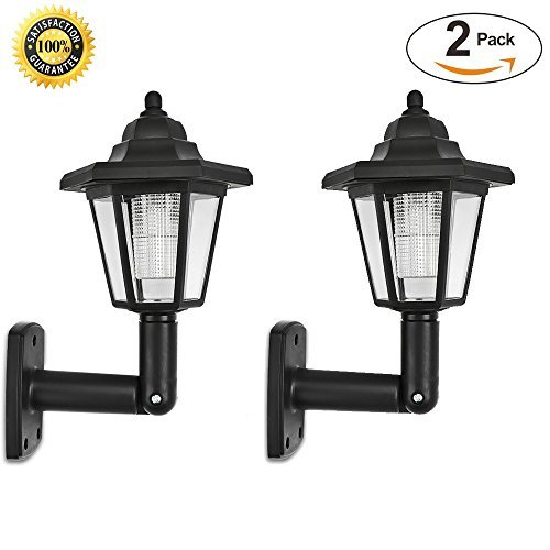 Fornorm Solar LED Wall Lights outdoor- LED Solar Wall Sconces Vintage | Solar Security Wall Lights For Outside walkway,Wall,Deck,Porch,Garden,Patio,Fence,Garage ( Pack of 2 - Top Lantern Garden Mount Wall