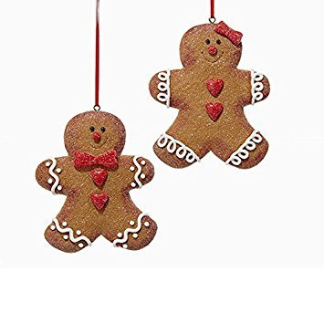 Kurt Adler 1 Set 2 Assorted Gingerbread Glitter Clay Dough Christmas Ornaments