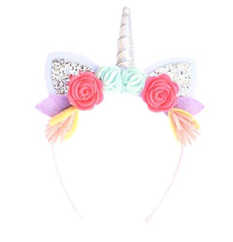 Unicorn / Animal Headbands with Glitter Ears & Felt Flowers for Toddlers, Girls