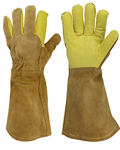 GoBold Heavy-duty Leather Gloves–Multi-use Hand & Arm Protection for Welding, Animal Handling, BBQ, Gardening & More–Heat, Scratch, Bite & Abrasion Resistant–Cotton & Canvas Lined–Storage Bag Included ()