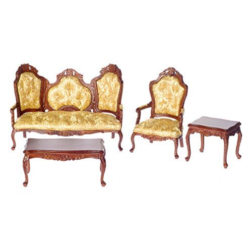 (Town Square Miniatures Walnut Rococo Living Room Set)