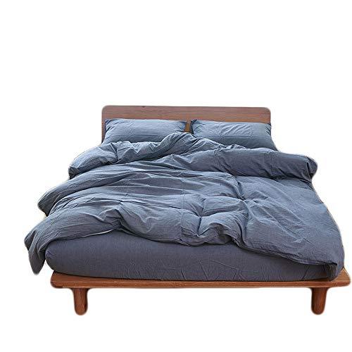 HOUSEHOLD 100% Cotton Duvet Cover Queen Size, 3 Piece Comforter Cover Set With Zipper Closure (Denim Blue, (Denim Duvet Cover Set)