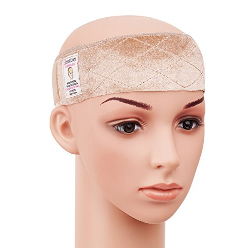 Dreamlover Elastic Wig Grip Headband, Adjustable Thin Velour Wig Scarf Hat Grip Band, Perfect for Keeping Wigs from Slipping (Tan)