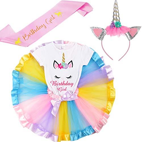 LYLKD Little Girls Unicorn Outfit Dress,Layered Rainbow Tutu Skirt,Unicorn T-Shirt and Unicorn Horn Headband. (Bday-Light Rainbow, XL,5-6 Years) ()