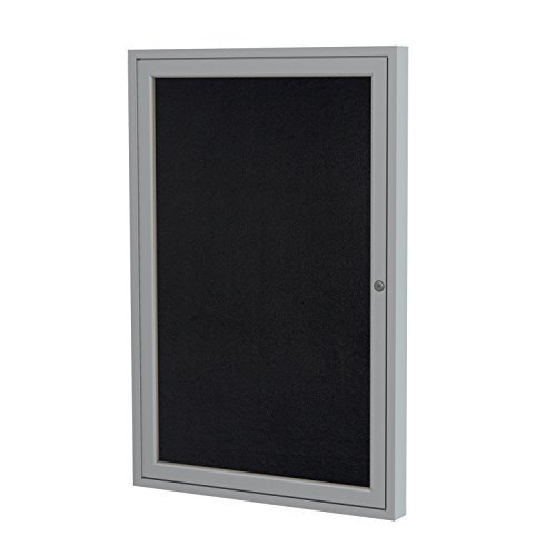 Ghent 24'' x 18'' Satin Aluminum Frame Enclosed Recycled Rubber Bulletin Board, Black (PA12418TR-BK) by Ghent by Ghent