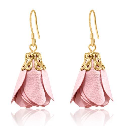 (Flower Tassel Earrings Fabric Dangle Drop 925 Silver French Hook Jewelry for Women's (Hot Pink))