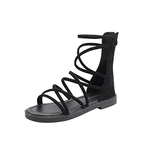 Personnalisée Laceup Moulants Plate 2 Slingback Flops Sandale Flip 2 Toepost Gladiateur De Plage Sliiper Mince Cuir 10 Chaussures Taille Plate Noir Lolittas Femme forme D'été Z6qwaYWp