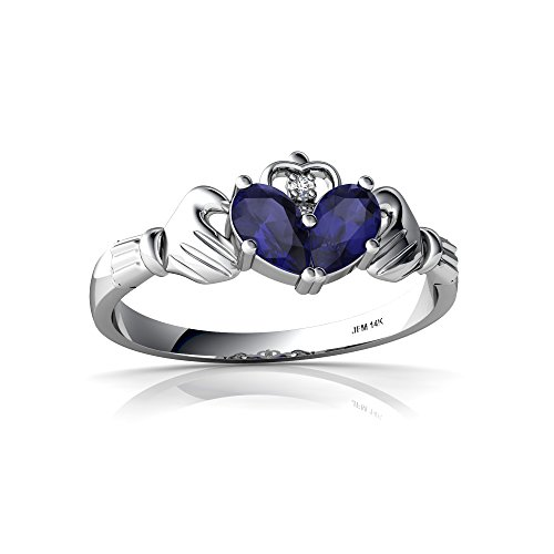 14kt White Gold Sapphire and Diamond 5x3mm Pear Claddagh Ring - Size 9 ()