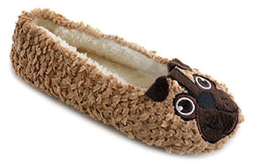 Ks Varumärken Damer Chenille Balett Tofflor Med Fleecefoder - Mops / Bulldog Brun Mops