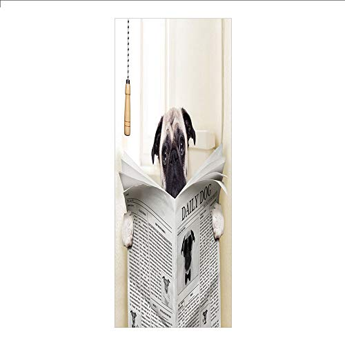 3D Decorative Film Privacy Window Film No Glue,Pug,Puppy Reading The Newspaper on The Toilet Bathroom Funny Image Pug Joke Print,Cream Black White,for Home&Office
