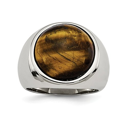(ICE CARATS Stainless Steel Tigers Eye Band Ring Size 11.00 Man Fashion Jewelry Gift for Dad Mens for Him)